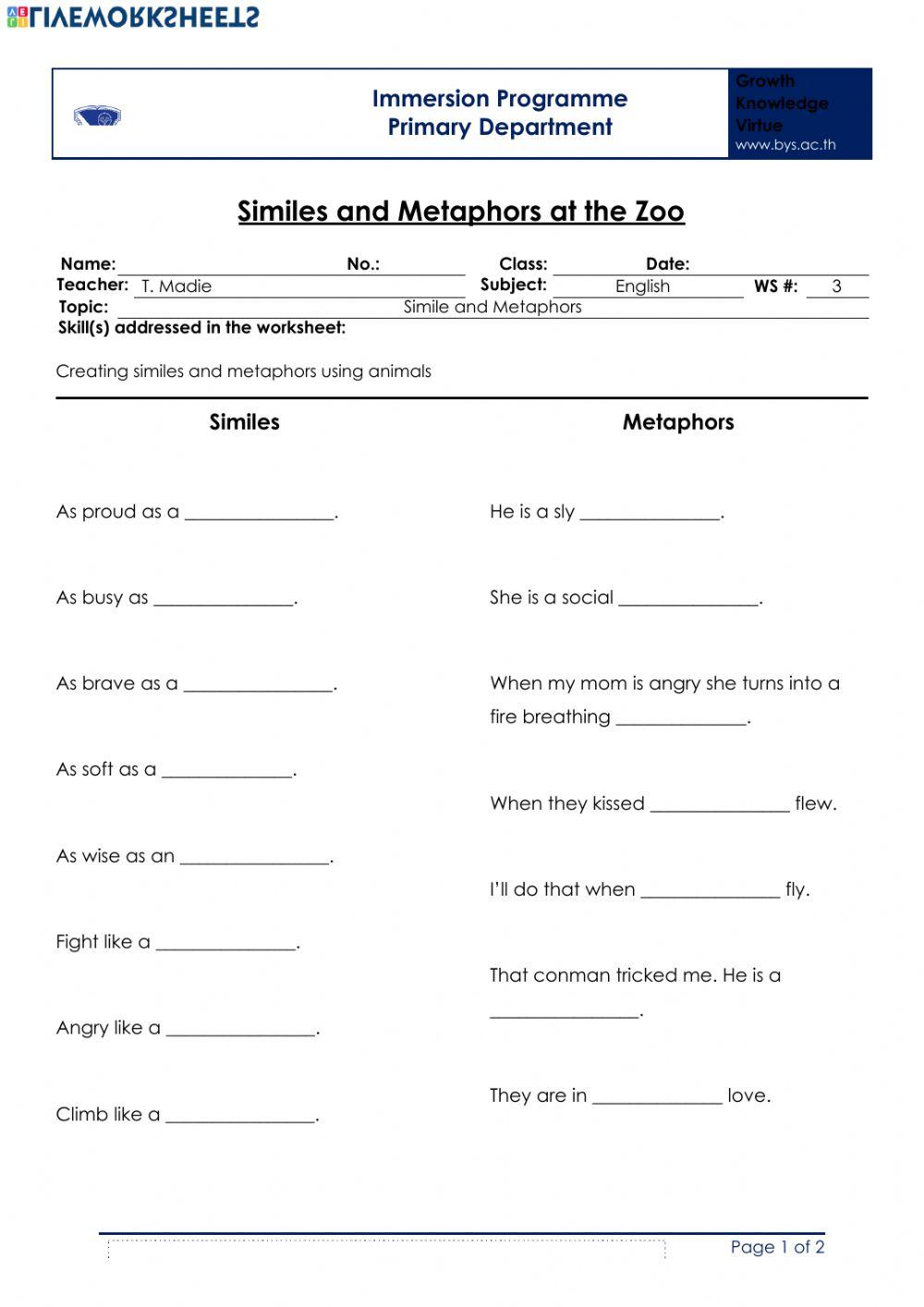 Animals In Similes And Metaphors Worksheet