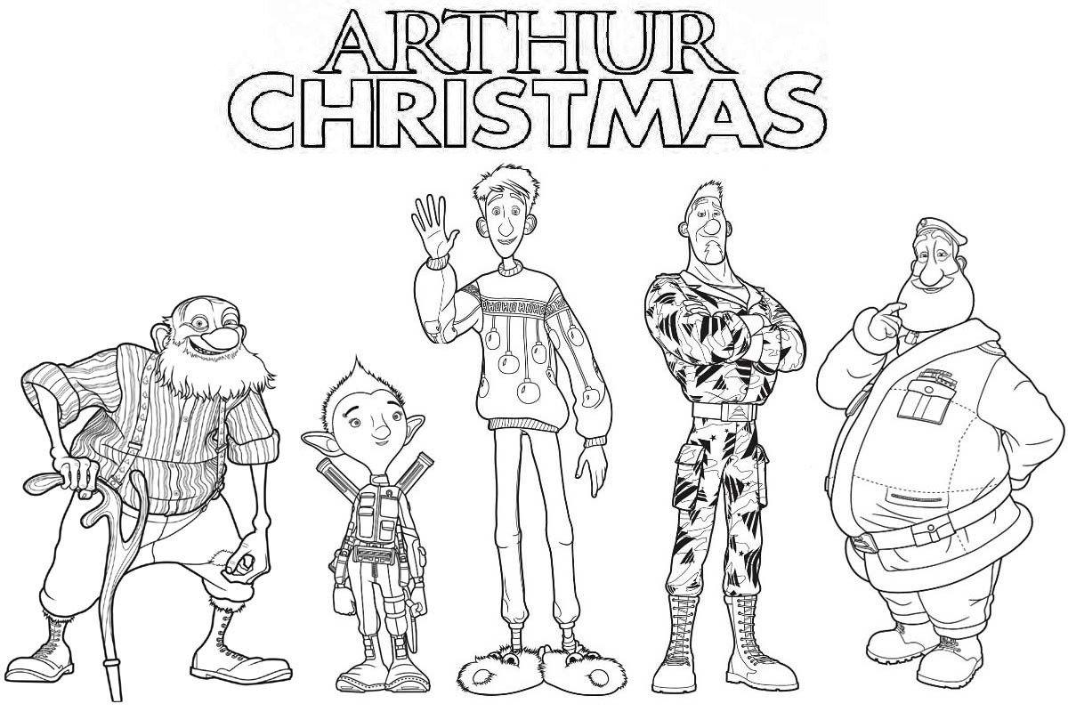 Arthur Christmas Characters Coloring Page | Arthur Christmas