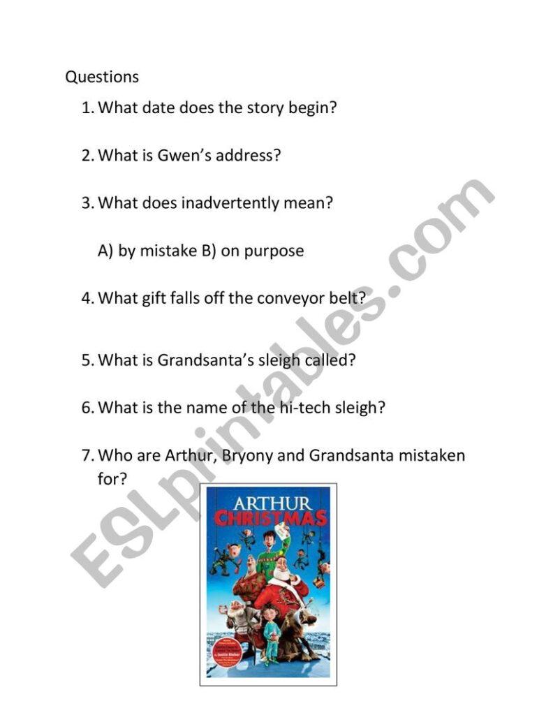 Arthur Christmas   Esl Worksheetrichbreeze1