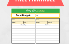 Christmas Budget Worksheet Printable