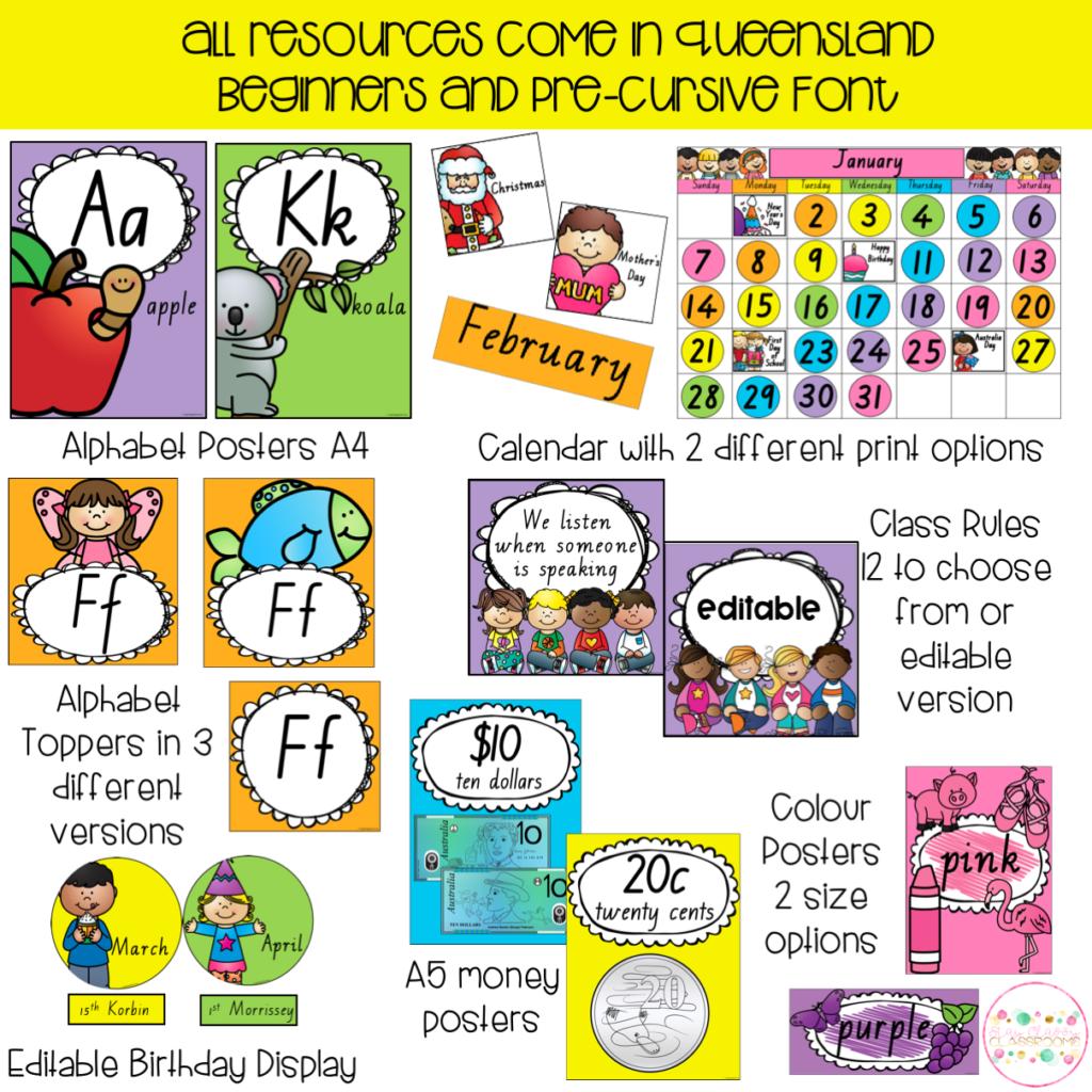 Australian Classroom Display Bundle   Queensland Fonts