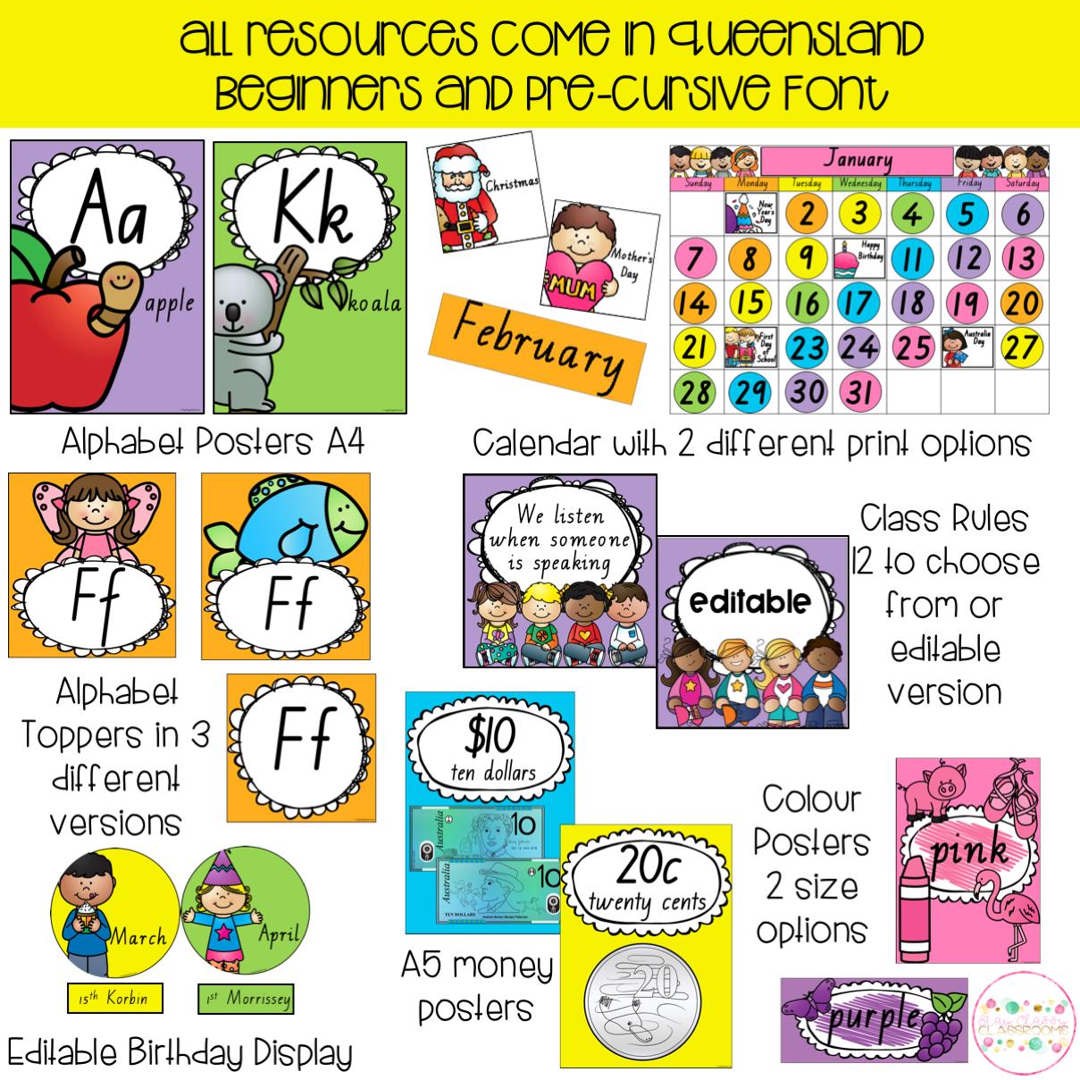 Australian Classroom Display Bundle - Queensland Fonts