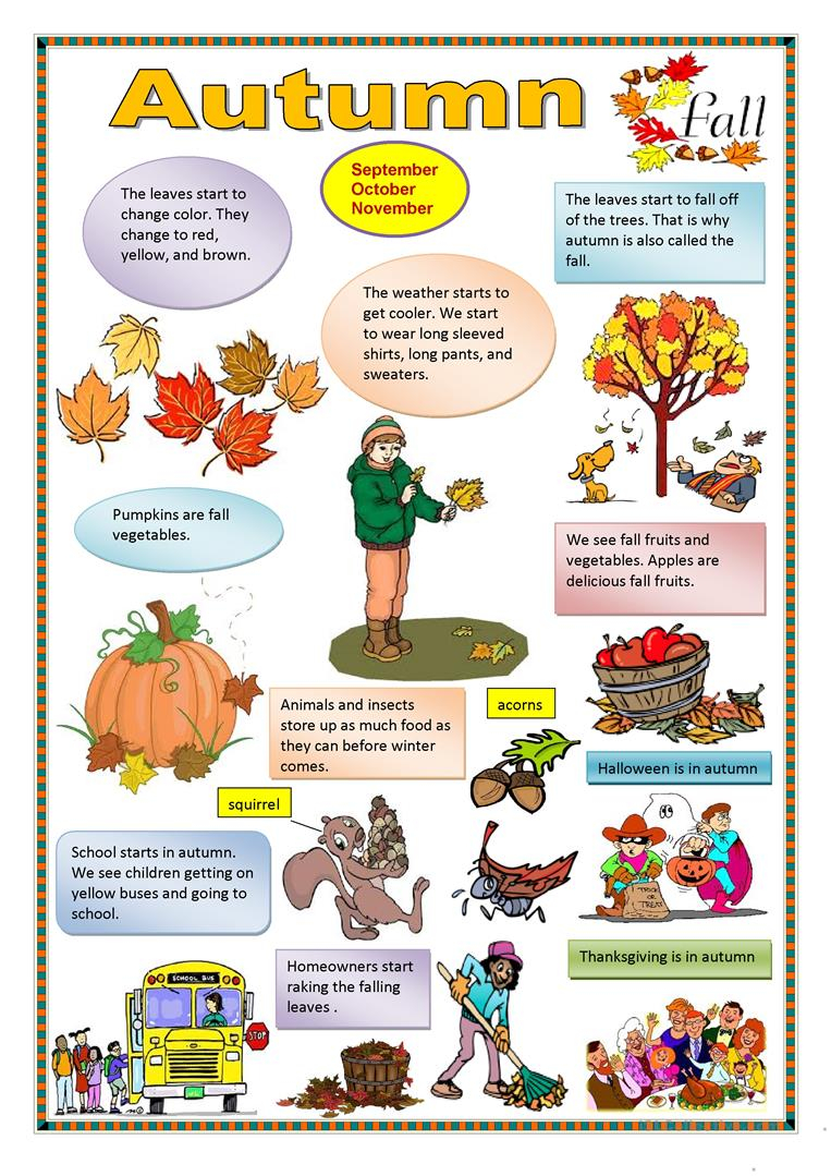 Autumn English Esl Worksheets For Distance Learning And
