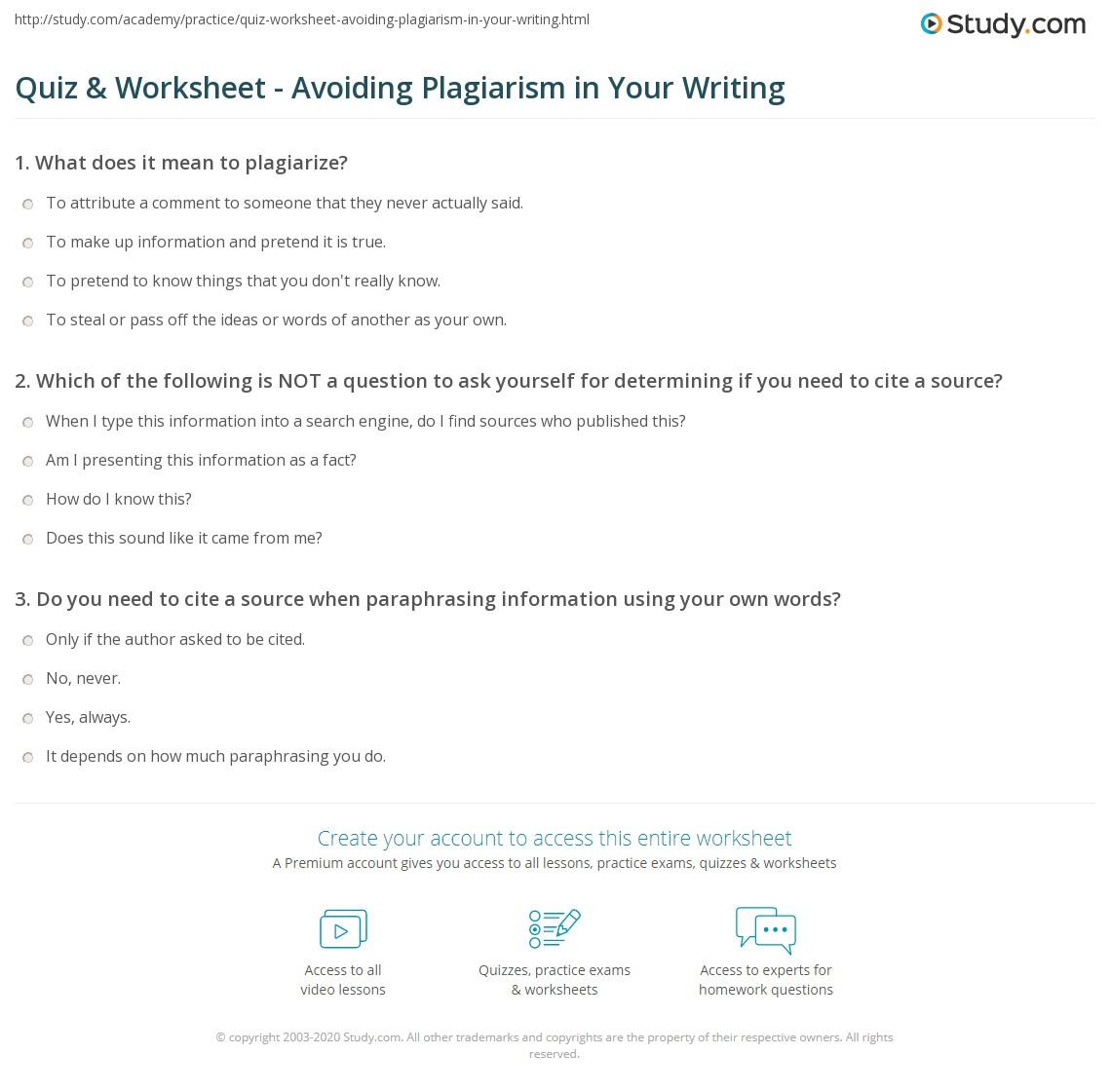 Avoiding Plagiarism Worksheet - Quantum Computing
