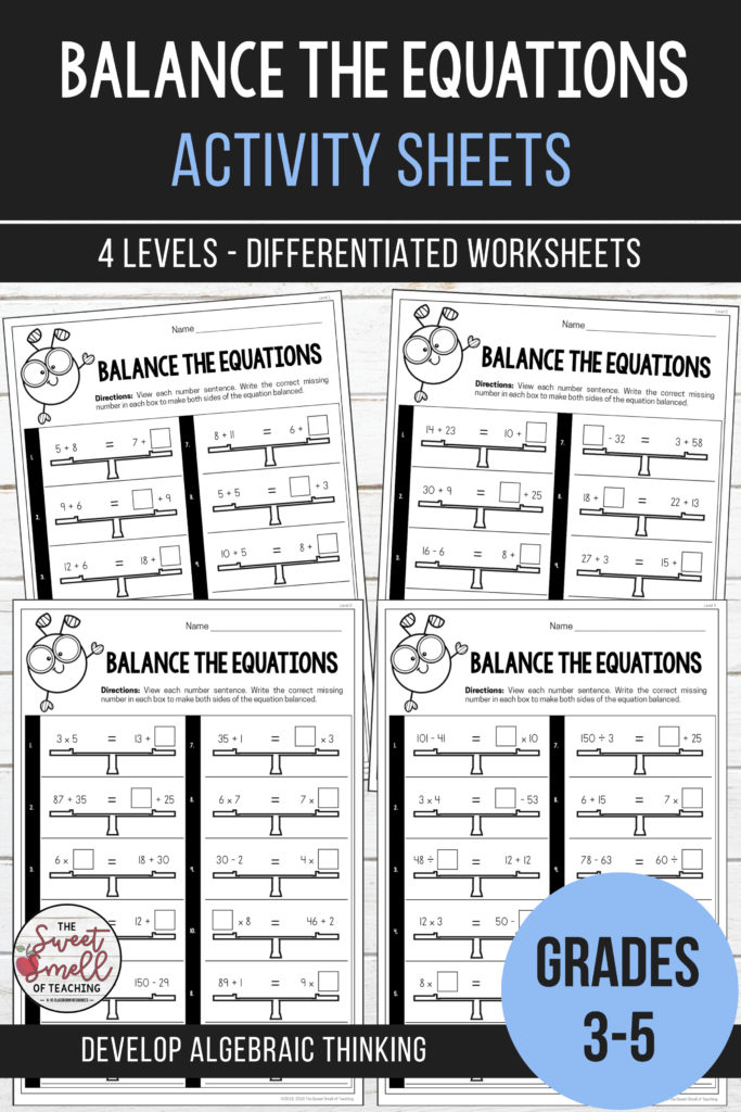 Balancing Equations   Equivalent Number Sentence Activities