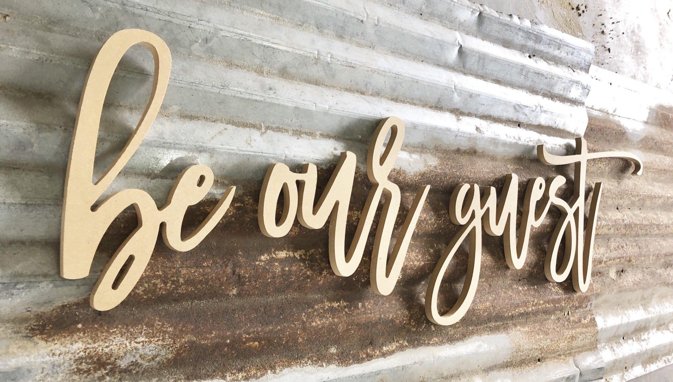 Be Our Guest Cursive Letters, Wood Wall Art, Housewarming
