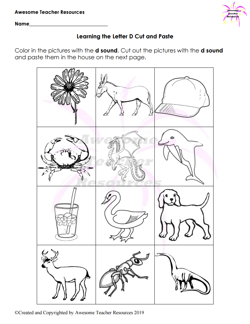 Beginning D Sound: Learning The Letter D Cut And Paste Worksheet pertaining to Letter D Worksheets Cut And Paste