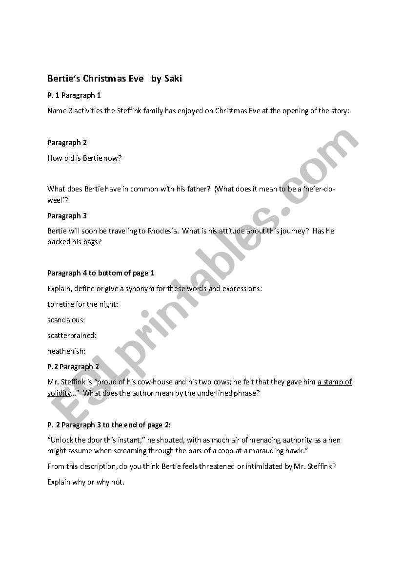 Bertie´s Christmas Eve Comprehension Questions - Esl
