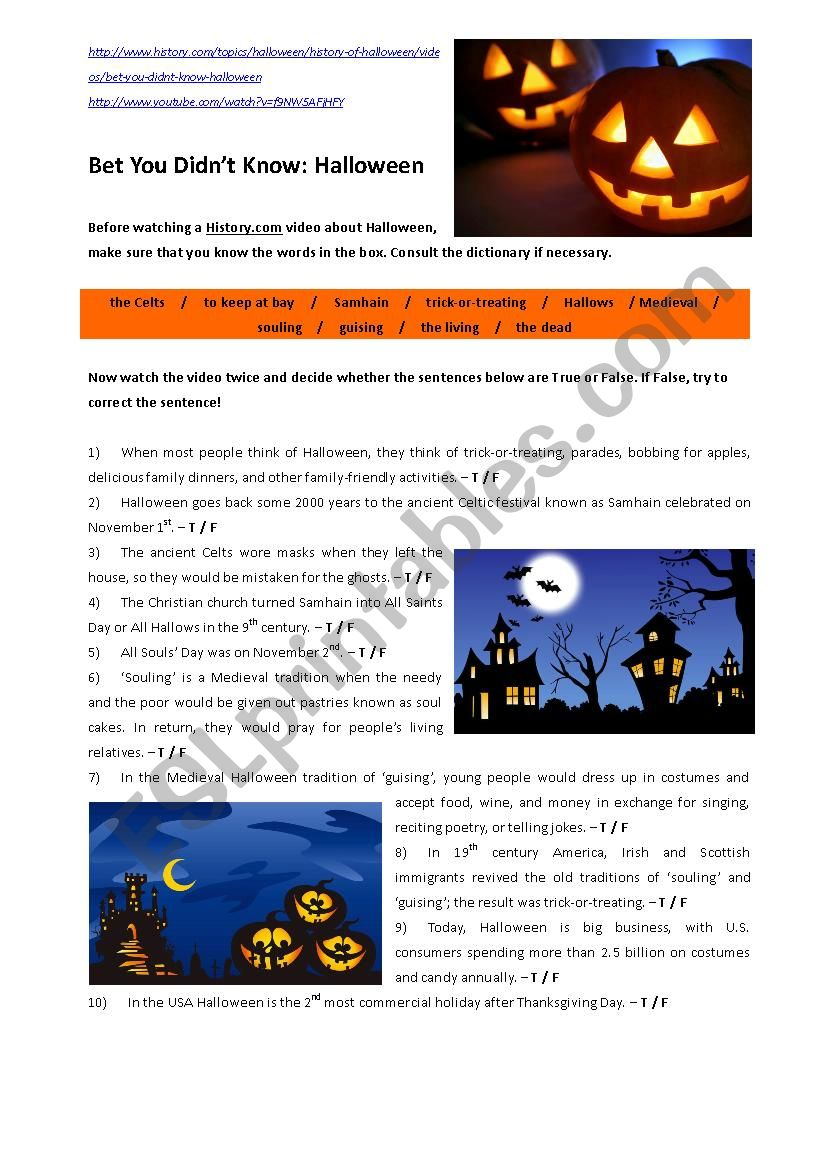 Bet You Didn´t Know: The History Of Halloween (Video) - Esl