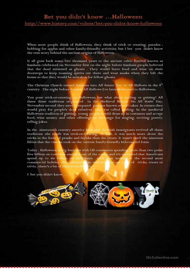 Bet You Didn't Knowhalloween - English Esl Worksheets For