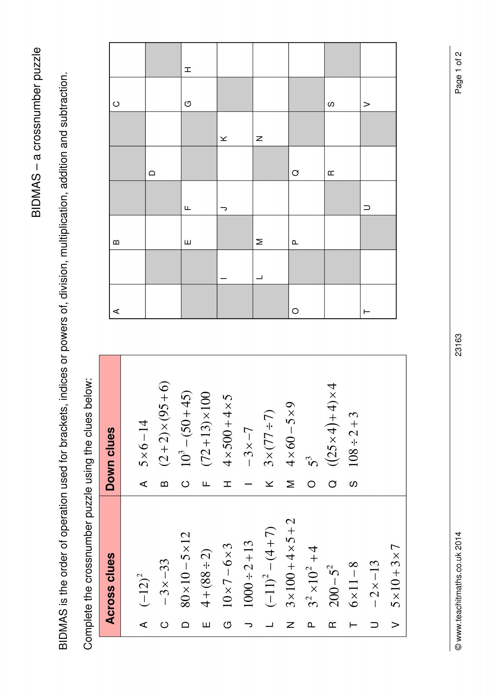 Bidmas – A Crossnumber Puzzle | Order Of Operations, Solving
