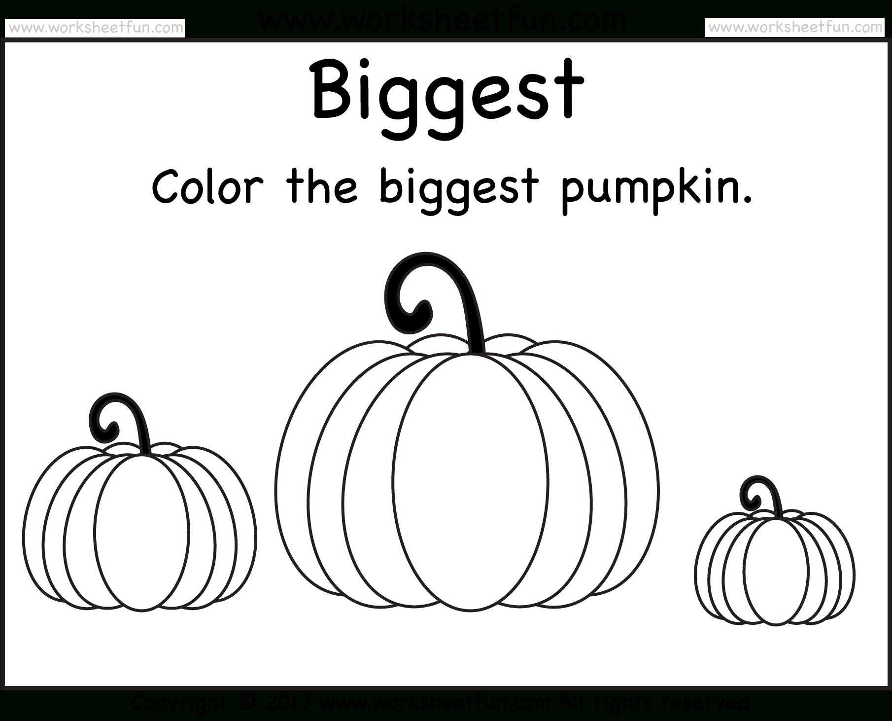 Biggest And Smallest Pumpkin – 2 Worksheets / Free Printable