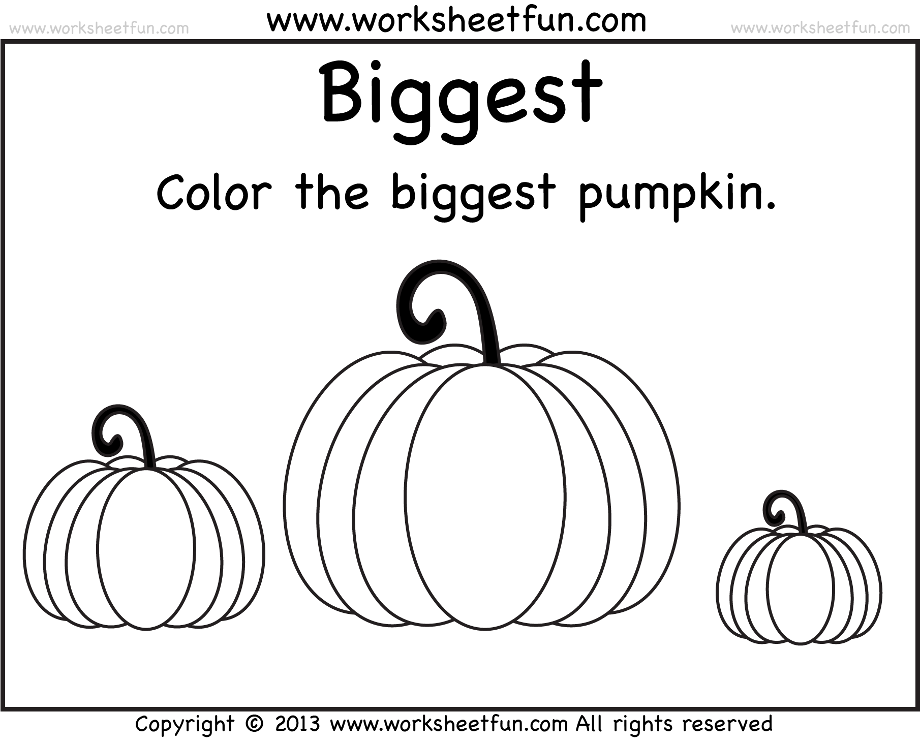 Biggest And Smallest Pumpkin – 2 Worksheets / Free Printable