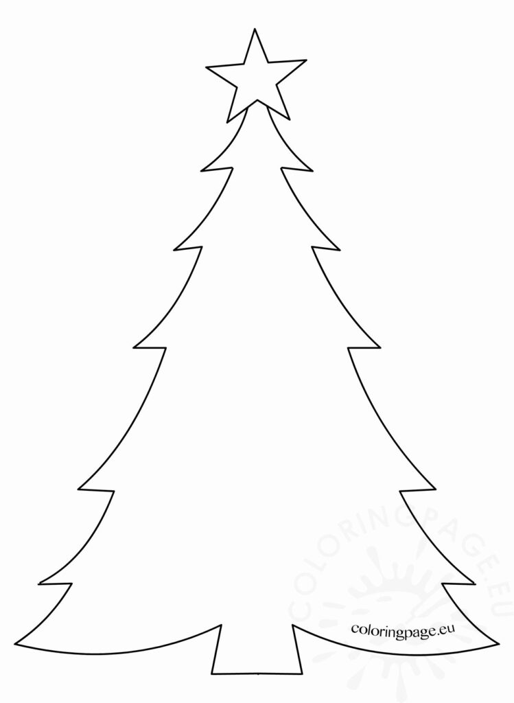 Blank Christmas Tree Coloring Page Pages Worksheets Stunning
