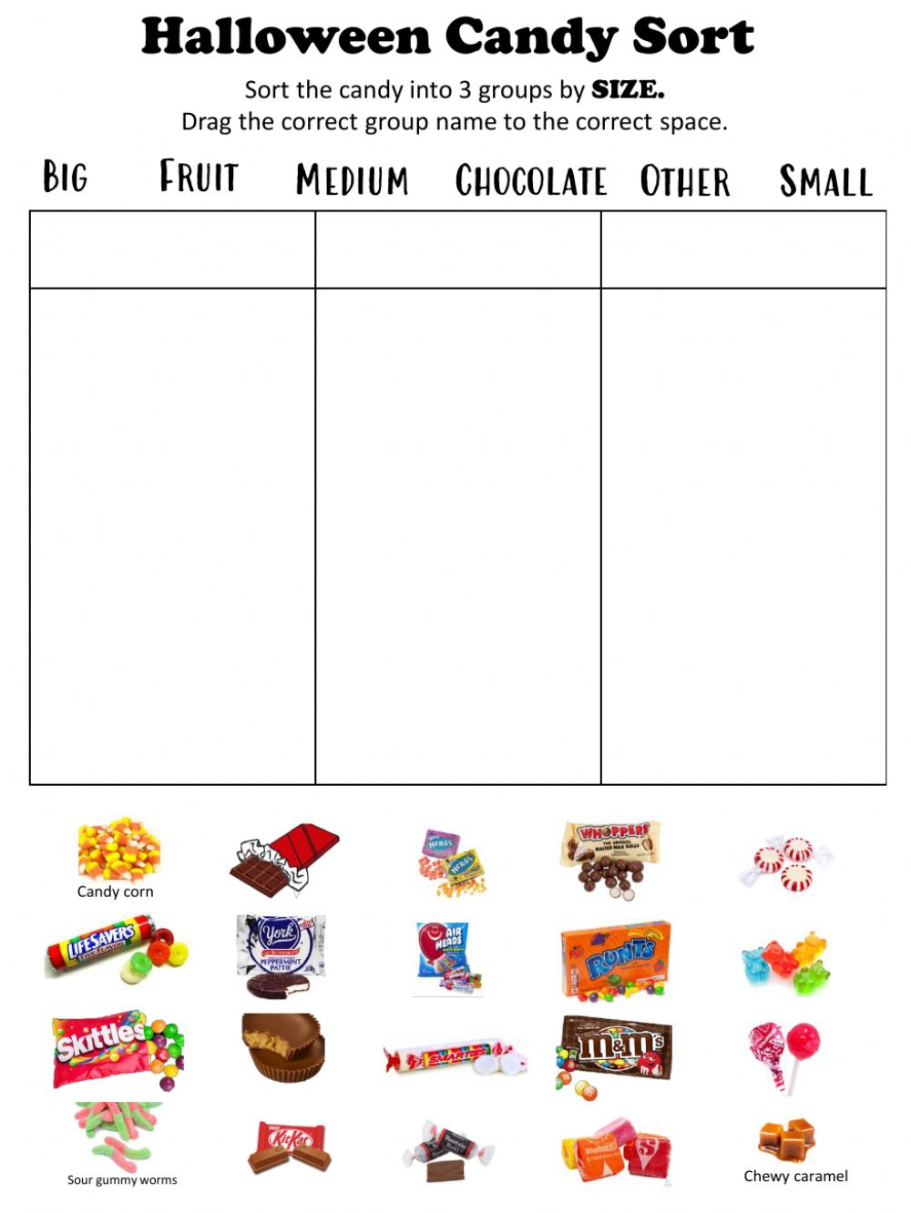 Candy Sorting Worksheet