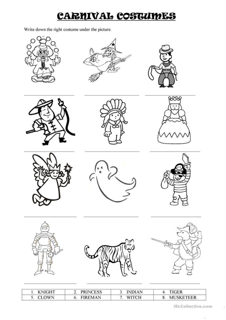 Carnival Costumes   English Esl Worksheets For Distance