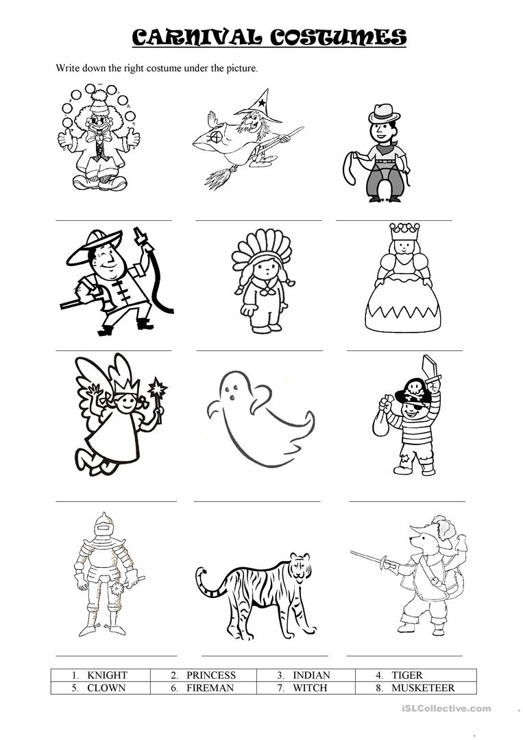 Carnival Costumes - English Esl Worksheets For Distance