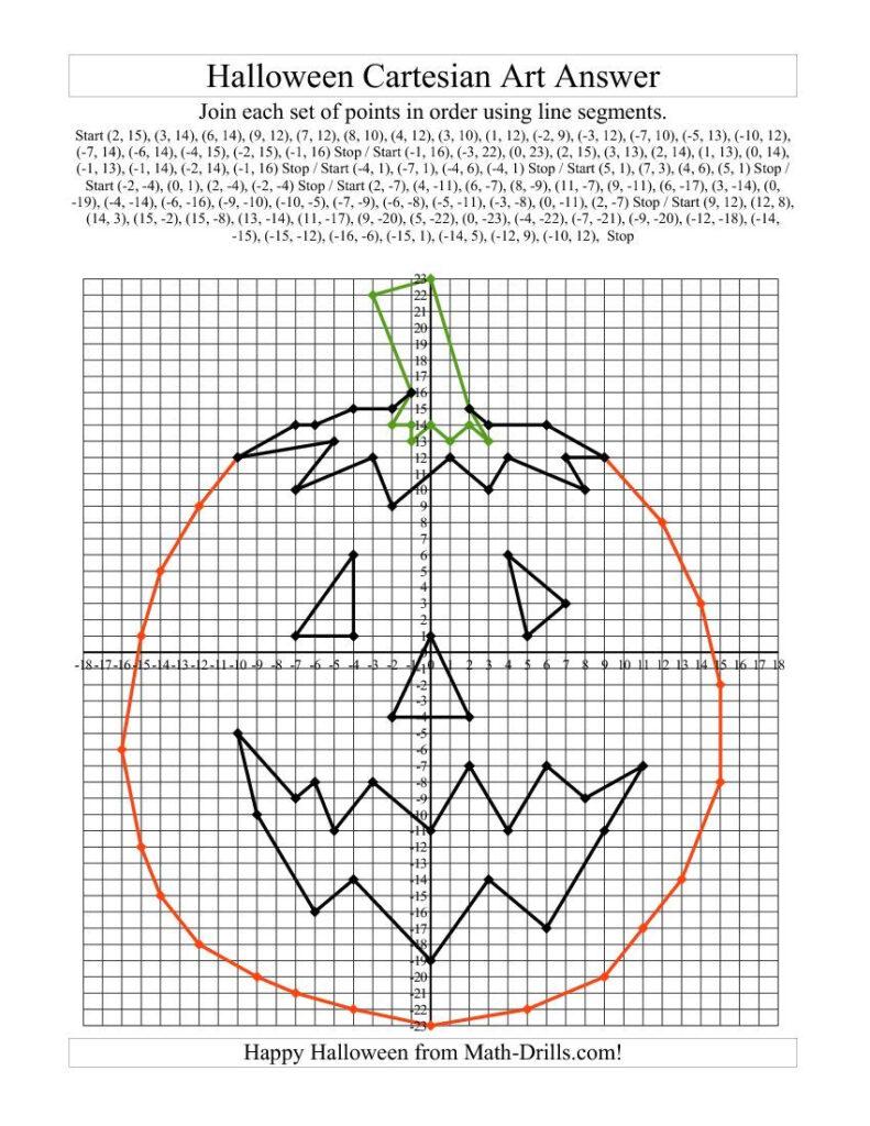 Cartesian Art Halloween Pumpkin | Halloween Math Worksheets