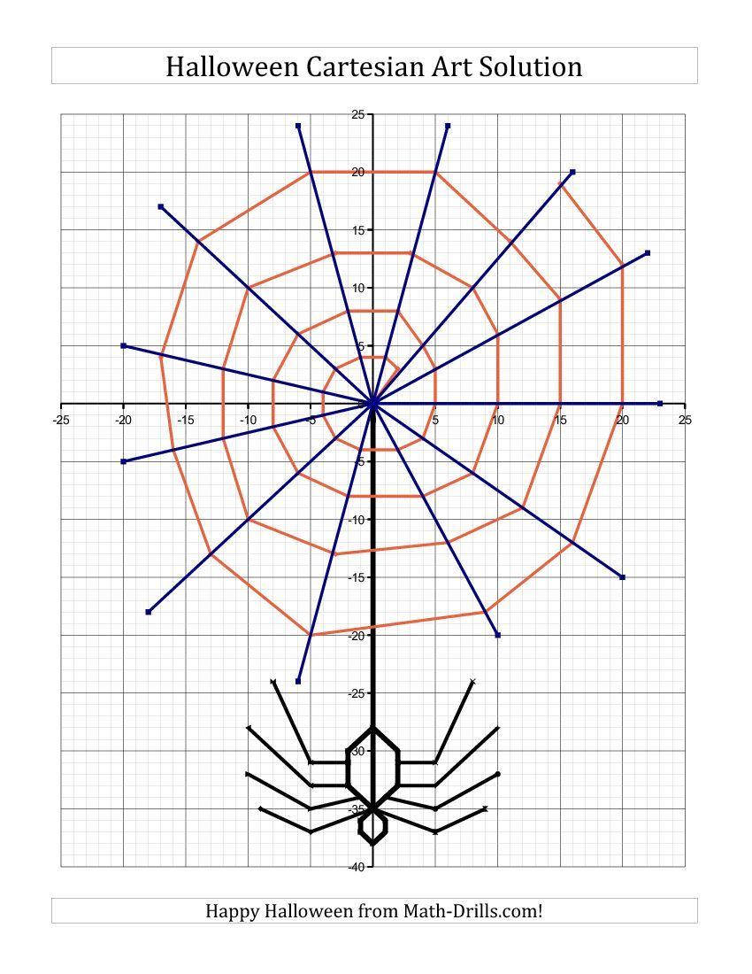 Cartesian Art Halloween Spider Halloween Math Worksheet
