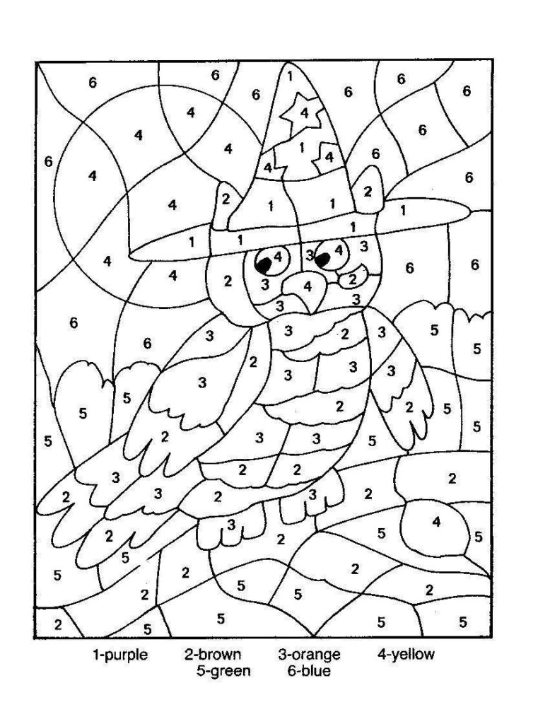 Cartoon Bird Colornumber Coloring Picture   Owl Coloring