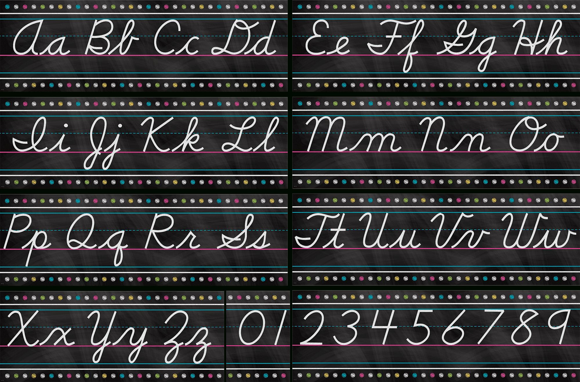 Chalkboard Brights Cursive Writing Bulletin Board Display Set