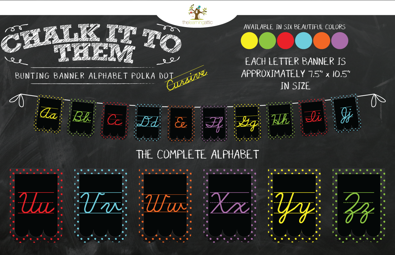 Chalkboard Bunting Banner Alphabet Polka Dot Cursive