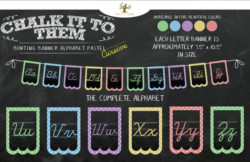 Chalkboard Bunting Banner Alphabet Polka Dot In Pastel Cursive