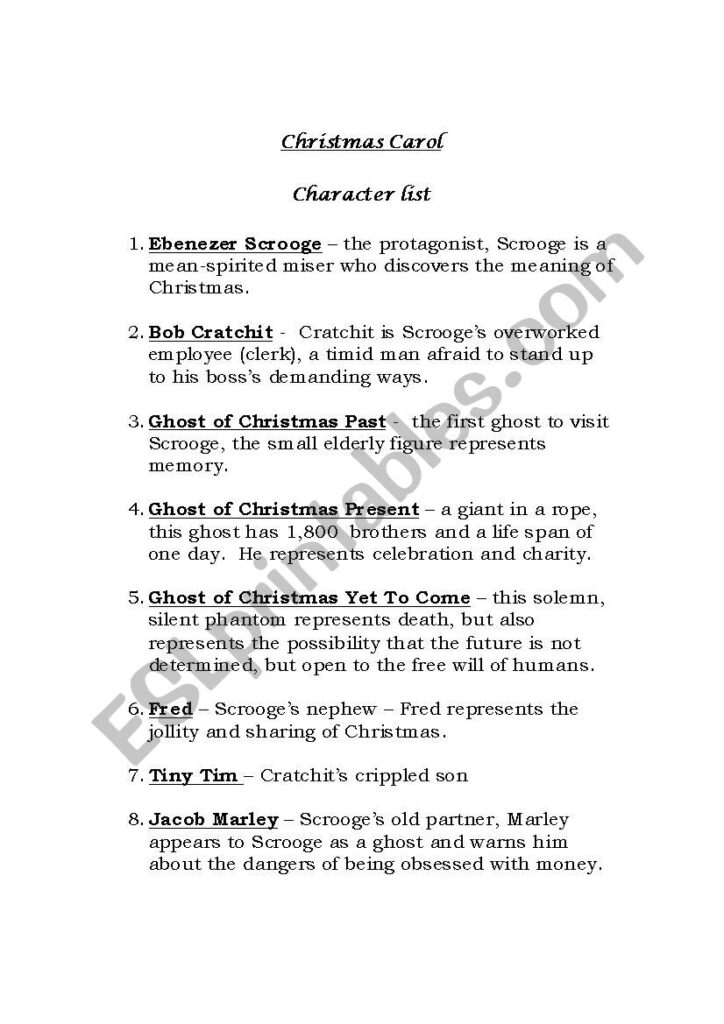 Character List A Christmas Carol   Esl Worksheetmoyenoivis