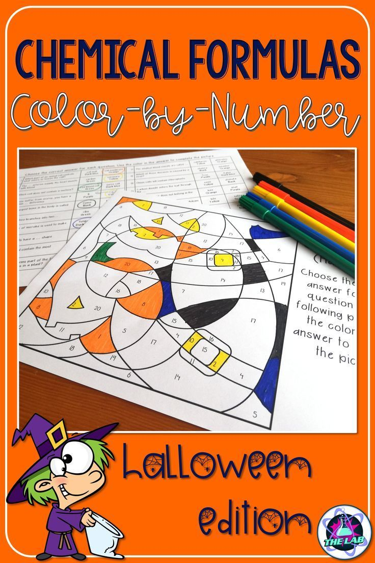 Chemical Formulae Colour-By-Number Activity (Halloween