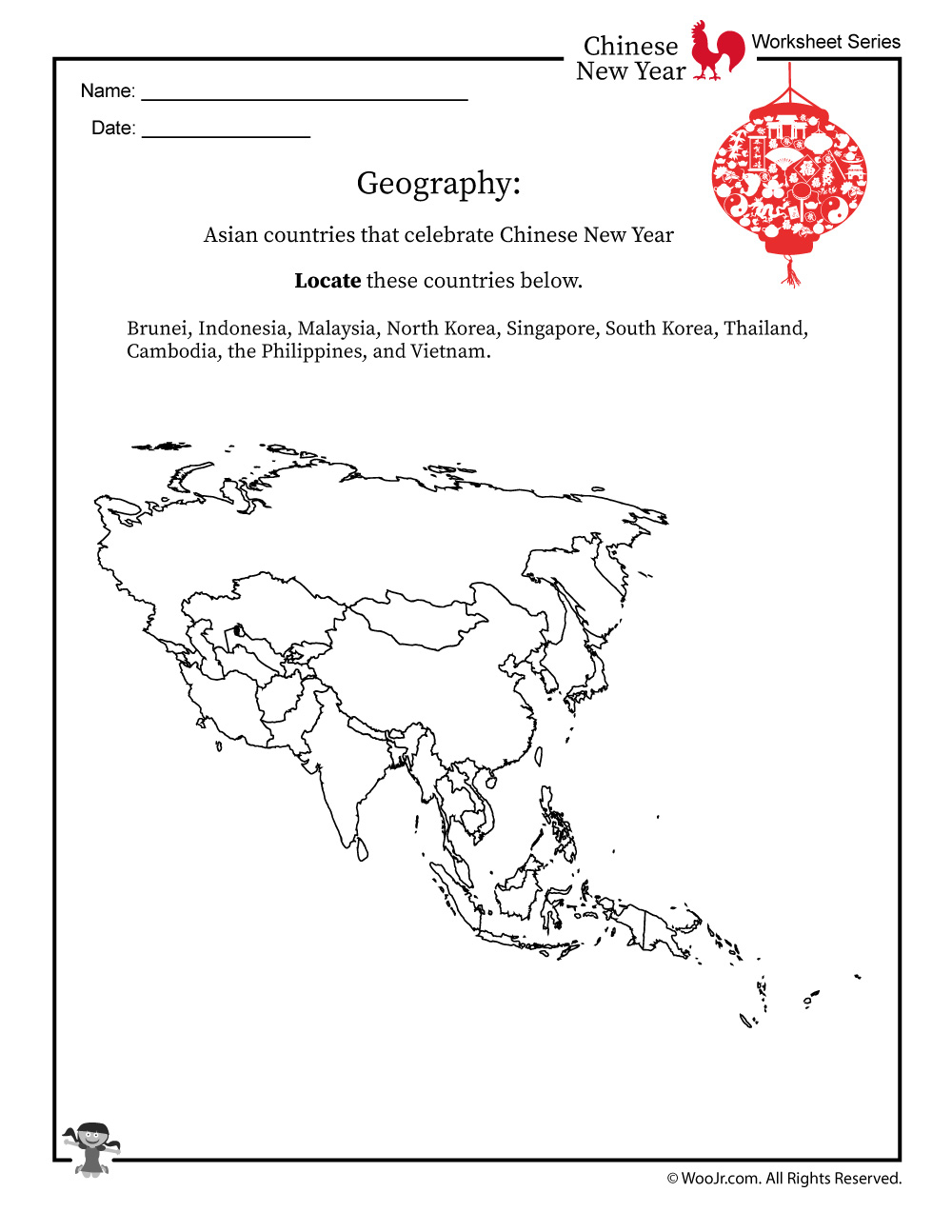 Chinese New Year Geography Worksheet | Woo! Jr. Kids Activities