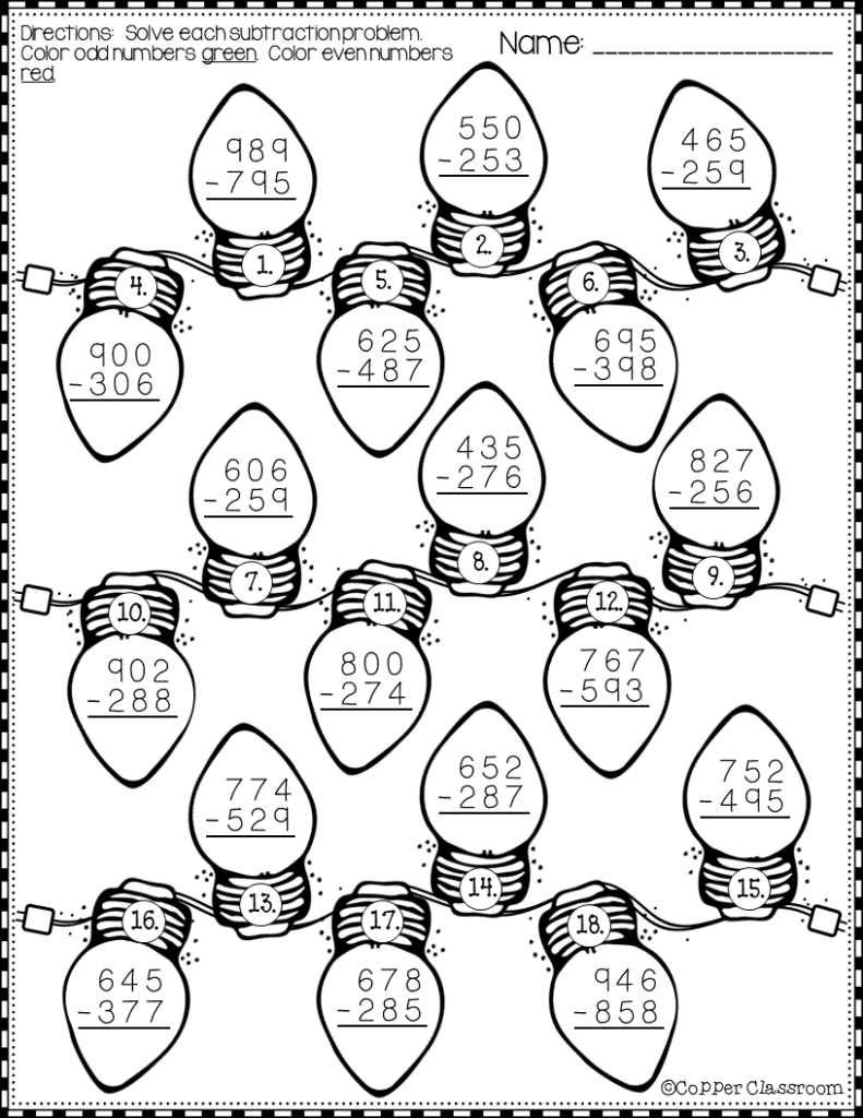 Christmas 3 Digit Subtraction With Regrouping Printables