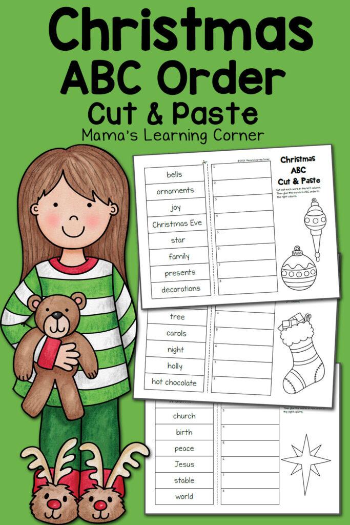 Christmas Abc Order Worksheets: Cut And Paste!   Mamas