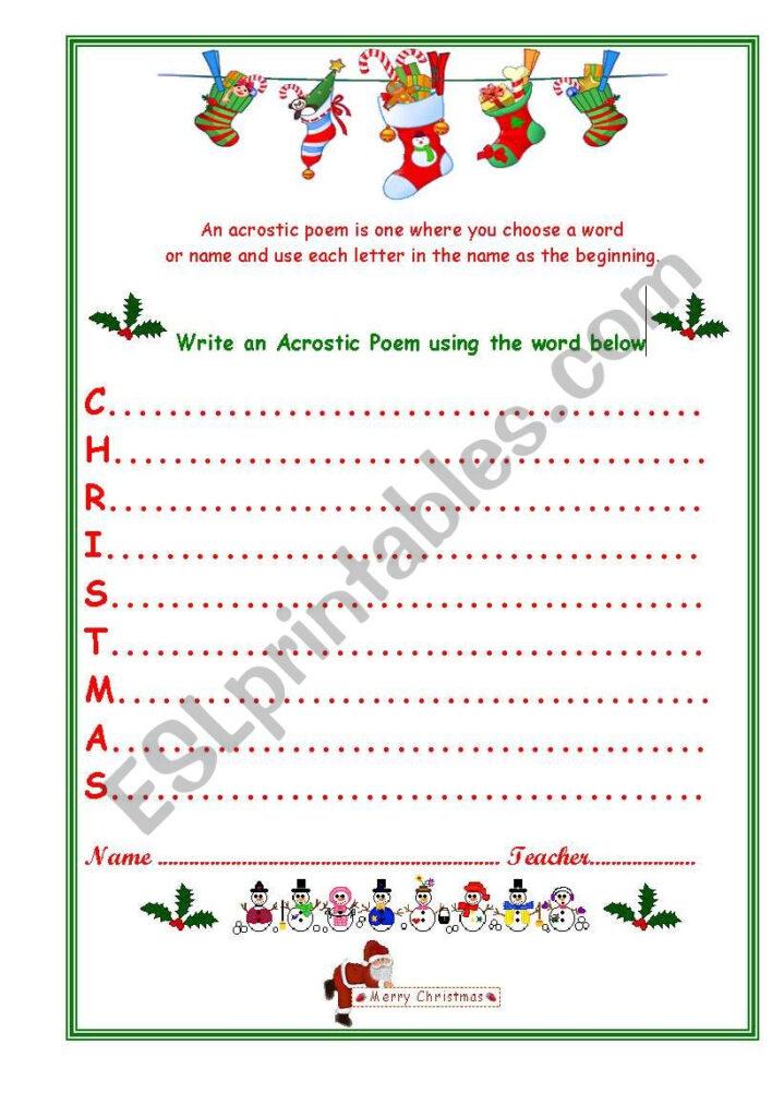 Christmas Acrostic   Esl Worksheetvenezababi