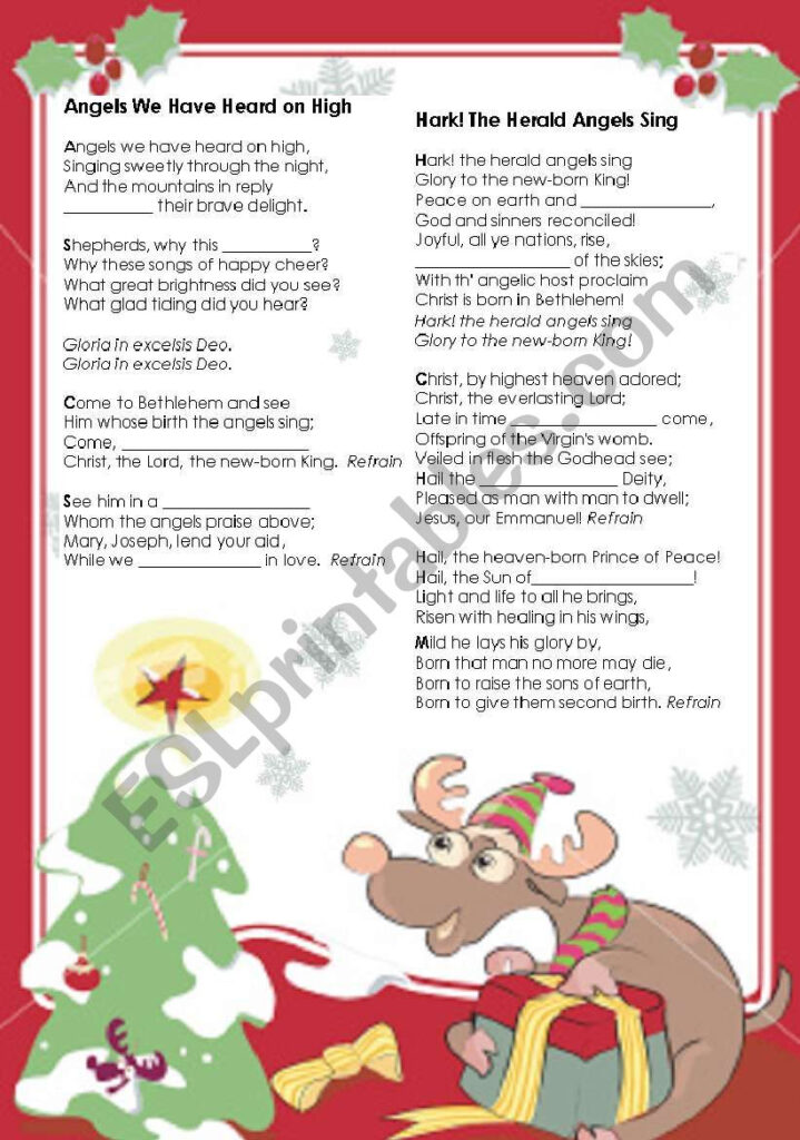 Christmas Activity   Gapped Carols Lyrics   Esl Worksheet