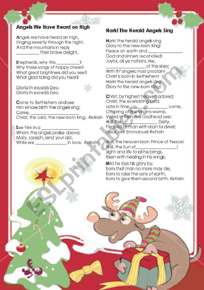 Christmas Activity - Gapped Carols Lyrics - Esl Worksheet