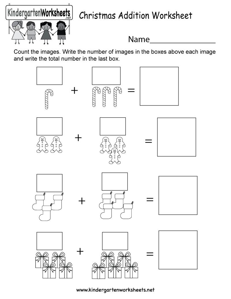 Christmas Addition Worksheet - Free Kindergarten Holiday