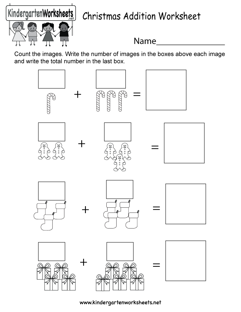 Christmas Addition Worksheet - Free Kindergarten Holiday