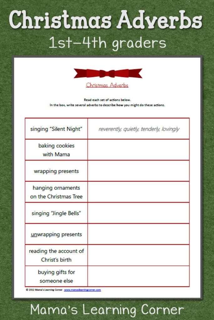 Christmas Adjectives Worksheet   Mamas Learning Corner