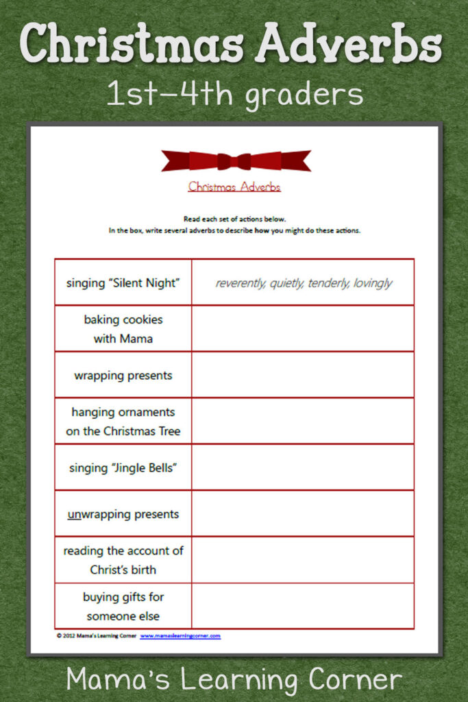 Christmas Adverbs Worksheet   Mamas Learning Corner