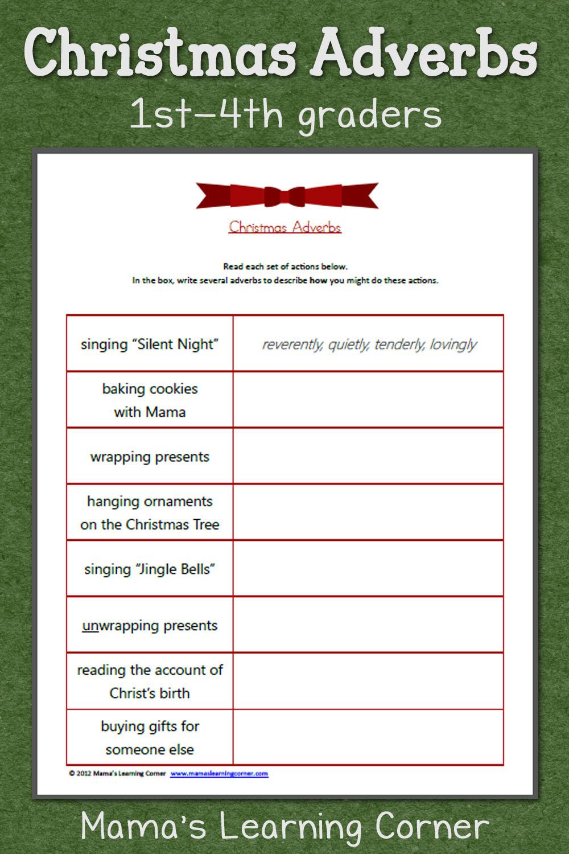 Christmas Adverbs Worksheet - Mamas Learning Corner