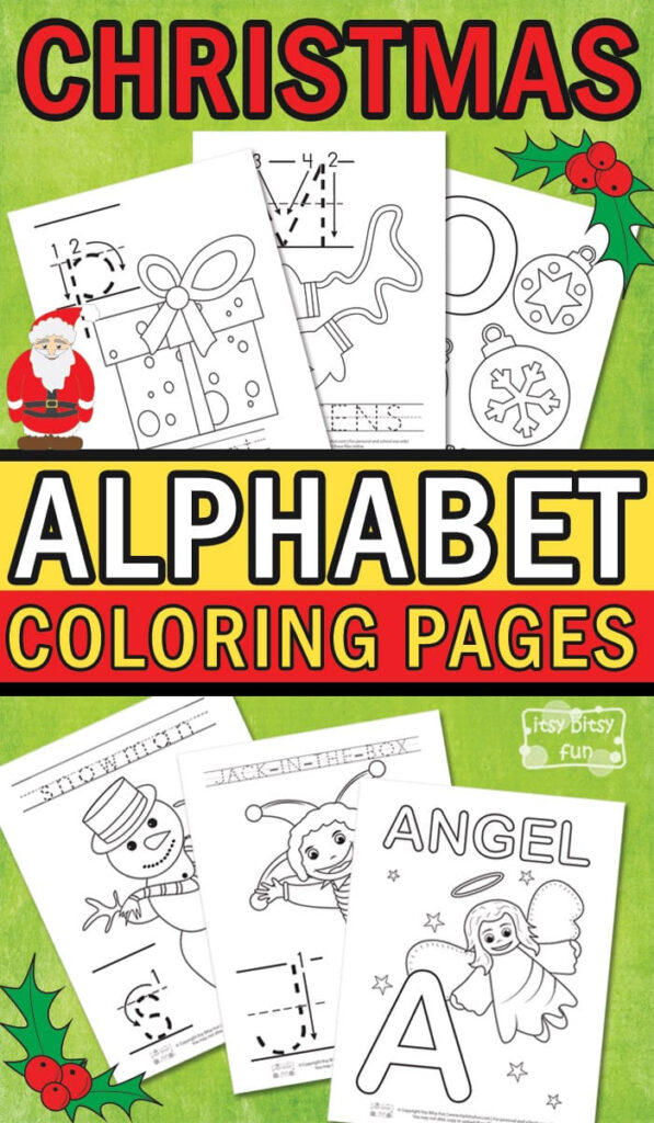Christmas Alphabet Coloring Pages   Itsybitsyfun