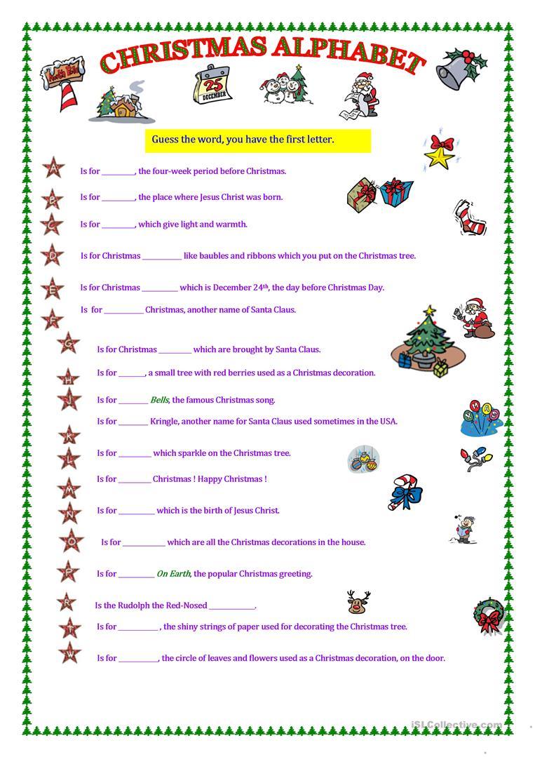 Christmas Alphabet - English Esl Worksheets For Distance