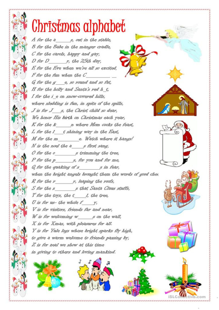 Christmas Alphabet   English Esl Worksheets For Distance