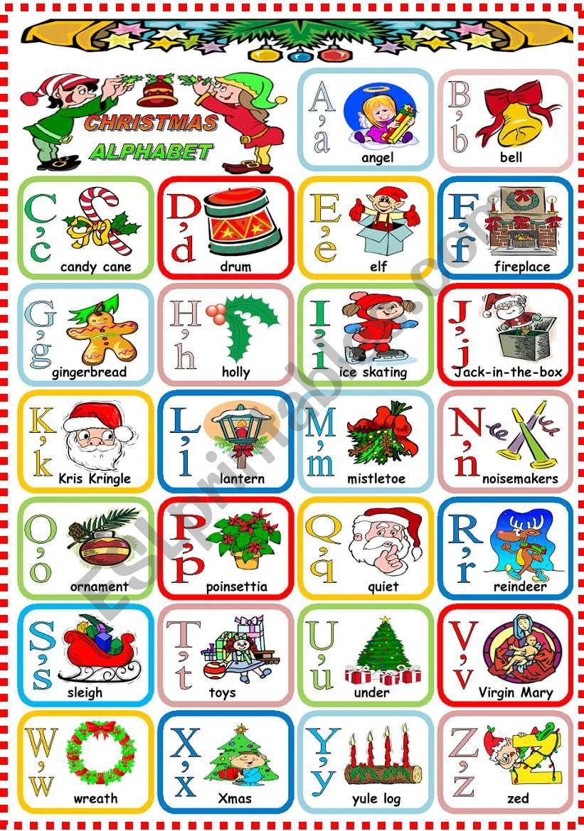 Christmas Alphabet - Esl Worksheetkatiana