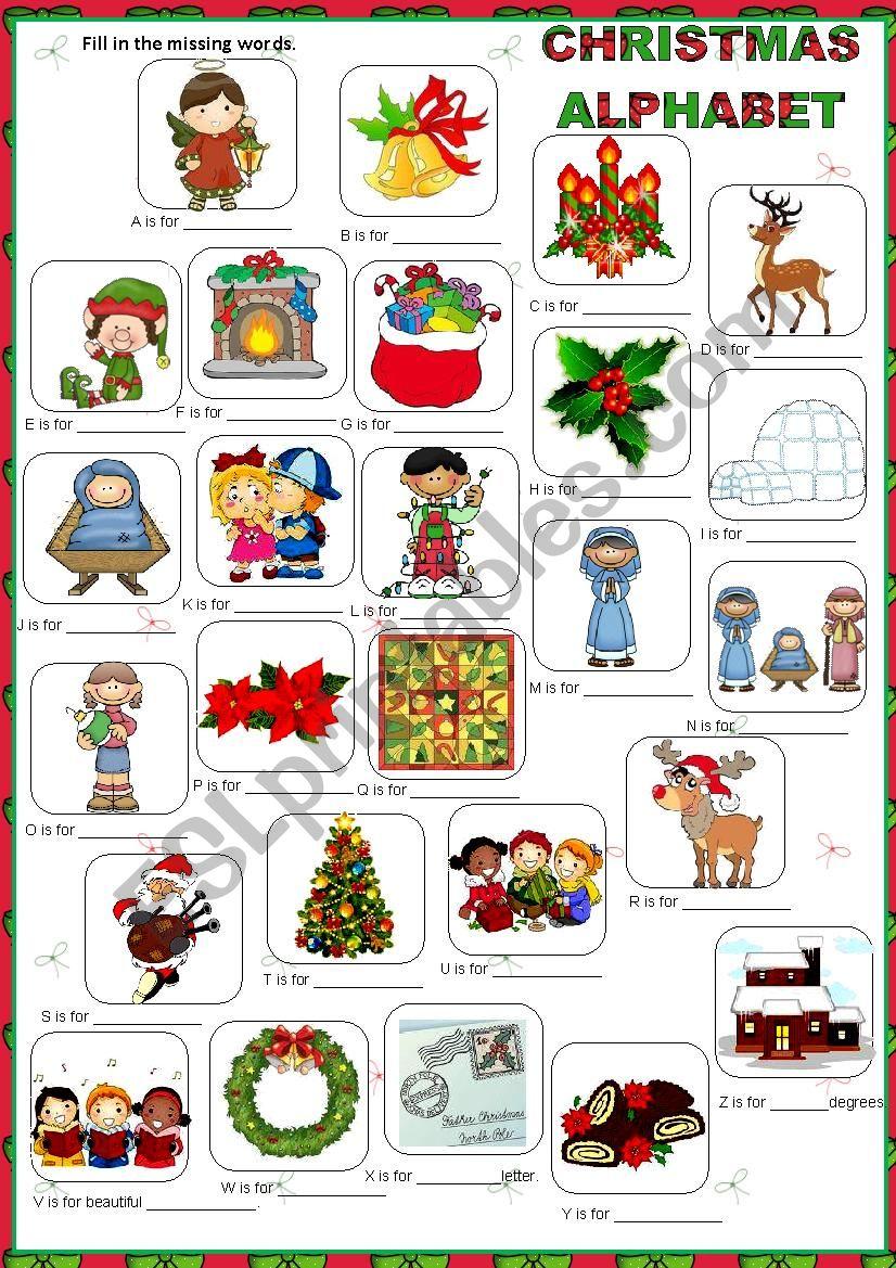 Christmas Alphabet - Esl Worksheetmacomabi