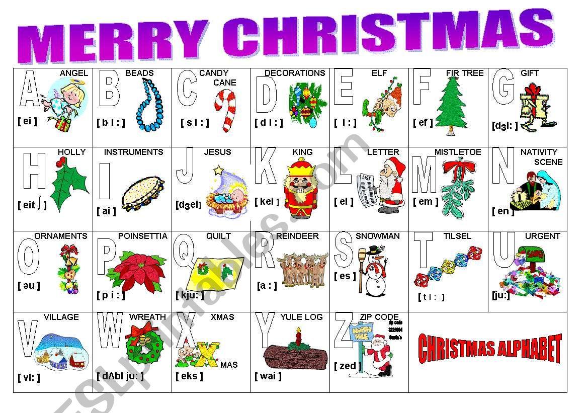 Christmas Alphabet - Esl Worksheetmilagrin