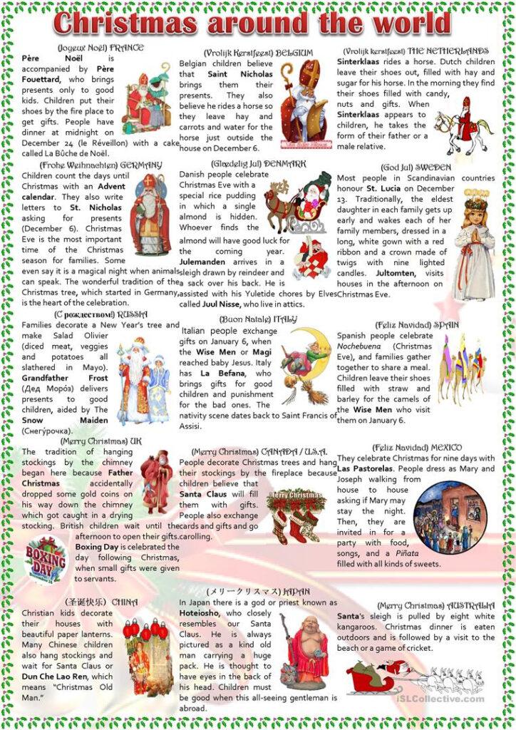 Christmas Around The World   English Esl Worksheets For