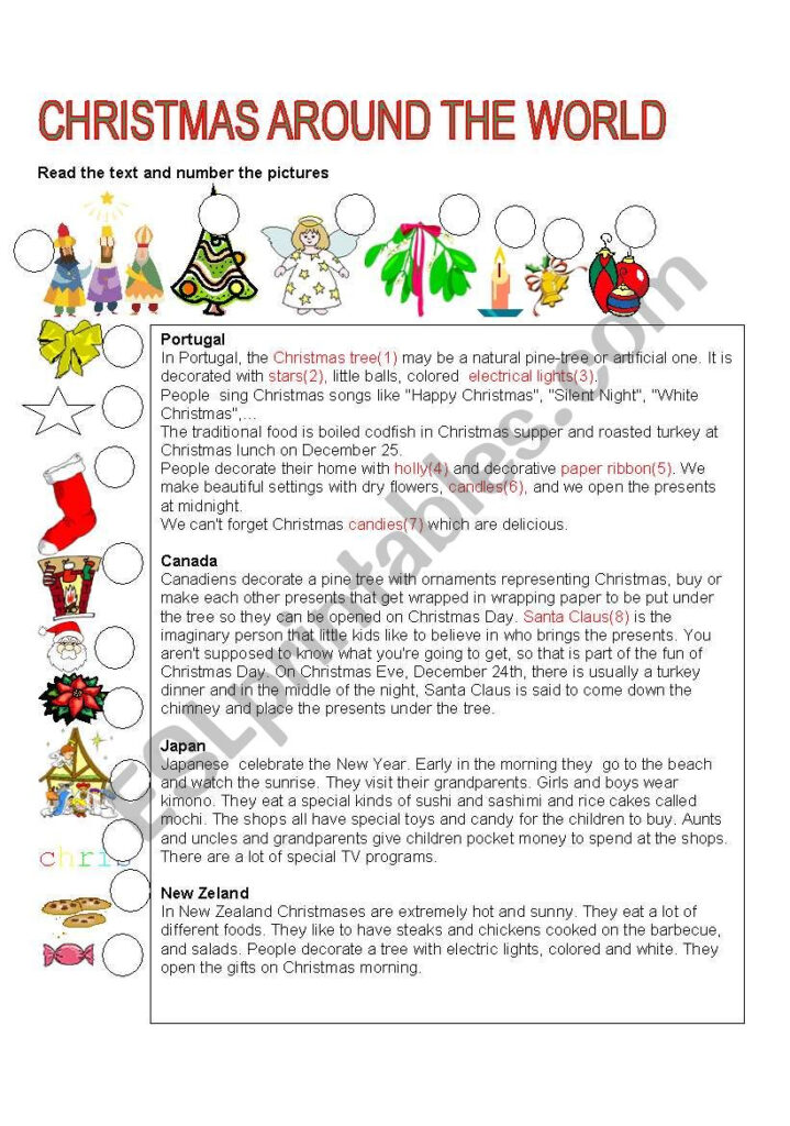 Christmas Around The World   Esl Worksheets.lefevre