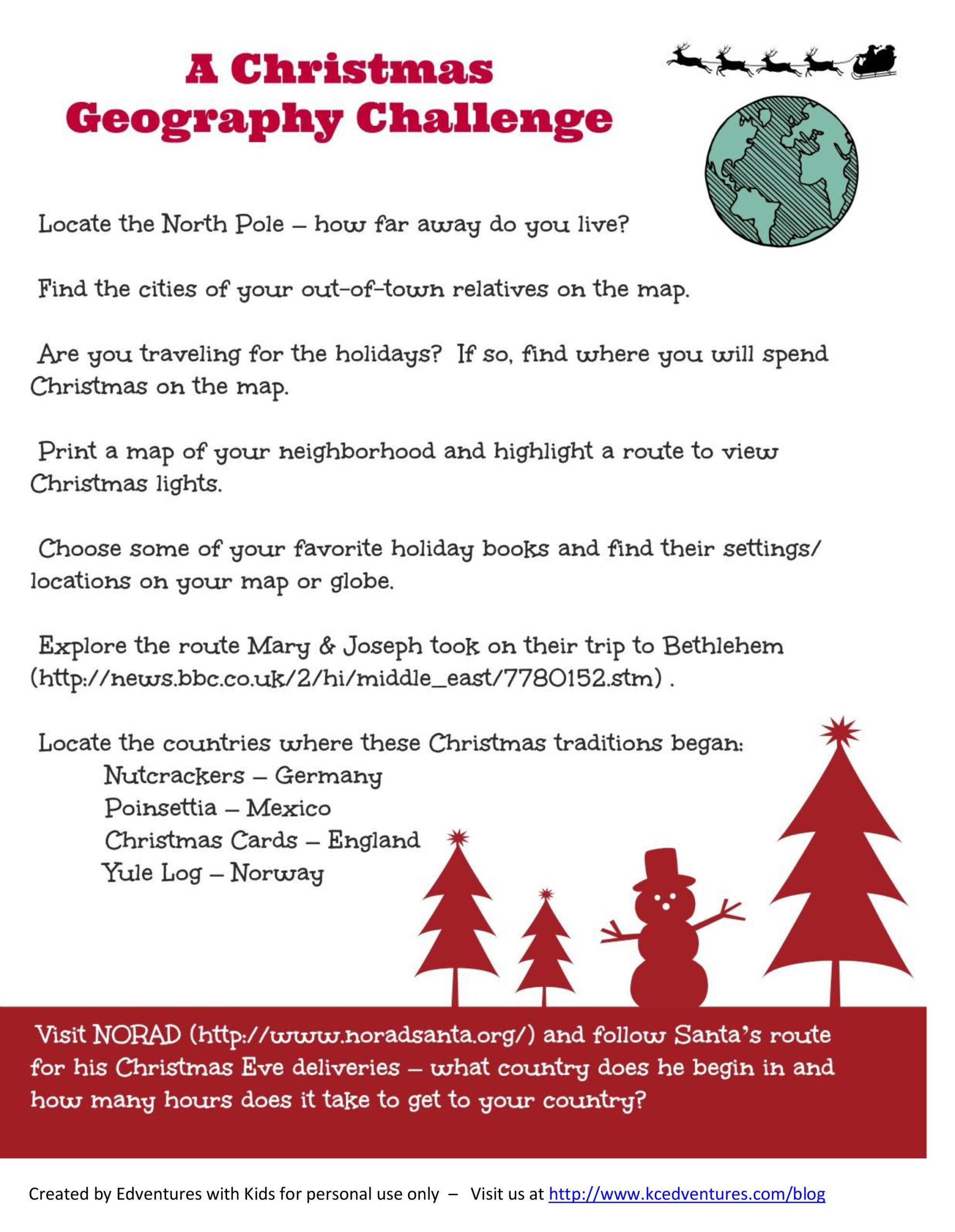 Christmas Around The World   Free Printable Map Activity