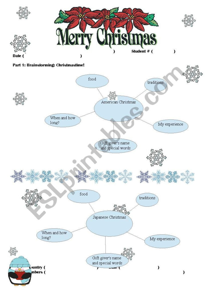 Christmas Around The World Research Project   Esl Worksheet